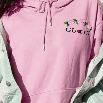 GUCCI X Champion Jointly Flower Long Sleeve Pullover Hoodie Sweater Pink
