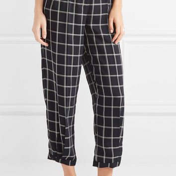 Elizabeth and James - Fritz cropped checked crepe tapered pants