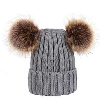Winter Knit Beanie Bobble Hat Cap with Double Pom Pom Ears for Women Girls