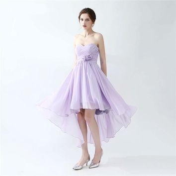 Chiffon Prom Dresses Lavander Short Front Long Back Corset With Handmade Flower Tea Length Prom Dress Girls Prom Party Gown