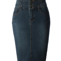 LE3NO Womens High Waisted Knit Denim Pencil Skirt with Stretch