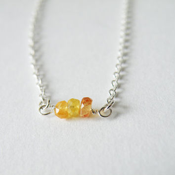 Tiny Yellow Sapphire Bead Necklace Delicate Necklace Minimalist Necklace Sterling Silver Birthstone Jewelry September Stone by SteamyLab