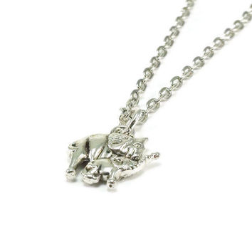 Mom and Baby Elephant Necklace.