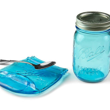 Melted Mason Jar / Blue Ball Jar Spoon Rest / Unique Home Decor / Ball Jar Soap Holder / Vintage Style Ball Jar / Housewarming Gift