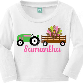 Thanksgiving Tractor Shirt Boy or Girl ~  Digital Iron On ~ Turkey ~ Fall
