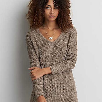 AEO Textured V-Neck Sweater , Sienna