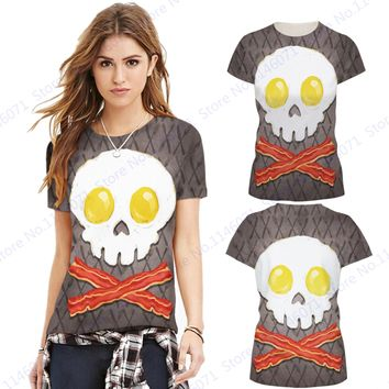 Crossbones Yoga T Shirt Kawaii Egg Bacon Crossbone Fitness Running Sports T-shirts Grey Halloween Training Tees Women Blousa Top