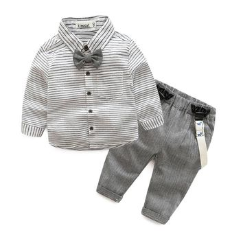 Formal Gentleman Long Sleeve Bow Tie Shirt+Suspenders Wedding Birthday Party Outfits Baby Boys Clothing Sets Gray Baby Boy Suits