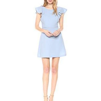 BCBGeneration Ruffle Back Dress, Blue Bird, 2