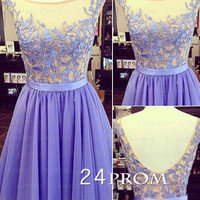 Purple A-line Lace Backless Short Prom Dress, Homecoming Dress