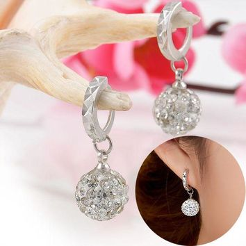 LMFIJ6 LNRRABC Women Earrings 10mm/12mm Crystal Rhinestone Ball Ear Dangle Earrings Fashion Jewelry boucle d'oreille Drop Shipping