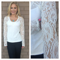 Ivory Paisley Lace Sleeve Top