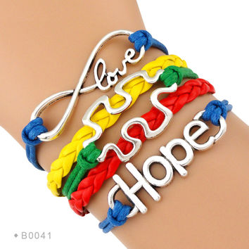(10 PCS/Lot) Infinity Love Autism Awareness Hope  Bracelet Jigsaw Puzzle Pieces