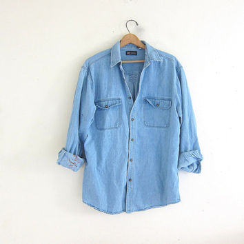 vintage distressed jean shirt. paint splatter denim shirt. button down shirt. pocket shirt.