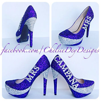 Wedding Swoop Name Glitter High Heels