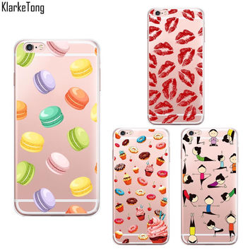 Macaroons Lips Cake Yoga Pattern Phone Case For iPhone 6 6S 5 5S SE 7 7plus Transparent Soft Silicone Cover Coque Capa