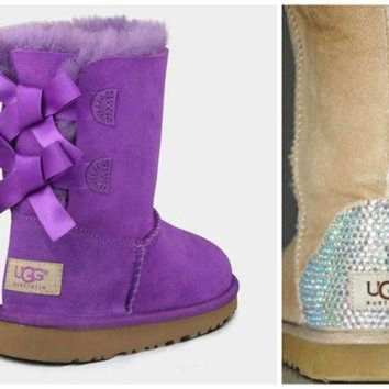 ICIK8X2 Toddler, Little Kid, and Youth UGG Bailey Bow Sheepskin Boots with Swarovski Crystal E