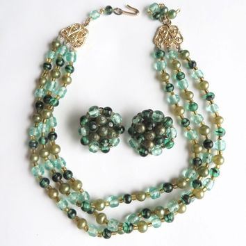 Vintage Signed Japan Demi Parure Necklace and Earring Set, Green Glass Beads