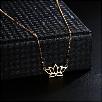 Dorado New Trendy Real 925 Sterling Silver Jewelry Beautiful Lotus Flower Charms Necklace Pendant Lover's Valentine's Day