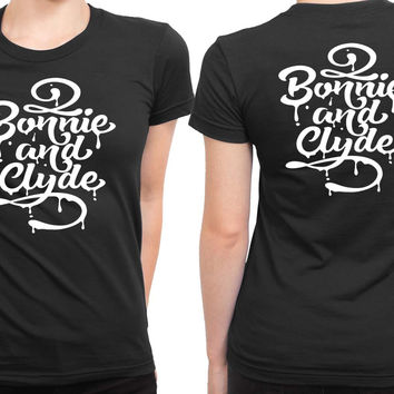 Typography Bonnie And Clyde 2 Sided Womens T Shirt