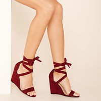 Faux Suede Lace-Up Wedges