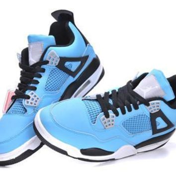 Cheap Air Jordans 4 Retro Men Blue Black White Shoes