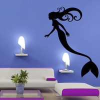 Mermaid wall decal art decor decals sticker mermaid star tail cartoon fish alga ocean sea girl silhouette nymph (m814)