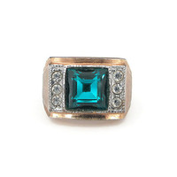 Clark and Coombs Ring, 18K Gold Electroplate, Cigar Band, Teal Glass, Rhinestone, Vintage Ring, Vintage Jewelry, Size 7.5