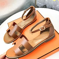 Hermes Summer Trending Women Casual Leather Sandals Shoes Brown