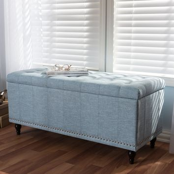 Baxton Studio Kaylee Modern Classic Light Blue Fabric Upholstered Button-Tufting Storage Ottoman Bench Set of 1
