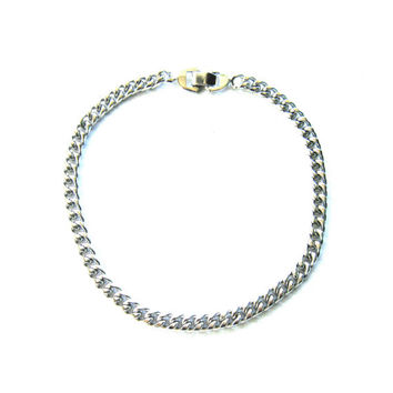 Chain Link Choker Silver Necklace