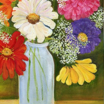 Zinnias and Queen Anne's Lace in a milk bottle, Canvas,  9 x 12,  Original Flowers painting