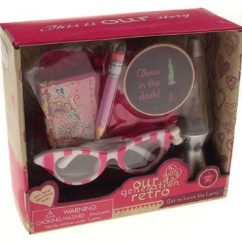 """Our Generation Retro Got to Lava the Lamp 18"""" Doll Accessory Glasses Pillow"""