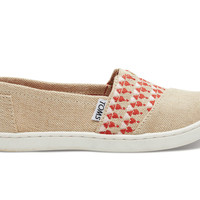 TOMS Natural and Red Embroidered Youth Classics Natural