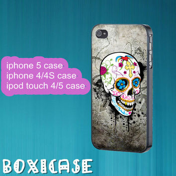 Floral Skull,Sugar skull---iphone 4 case,iphone 5 case,ipod touch 4 case,ipod touch 5 case,in plastic,silicone and black,white.