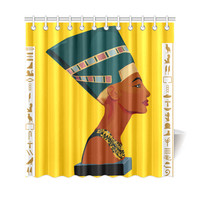 "Queen Nefetiti Shower Curtain Yellow Shower Curtain 69""x72"""