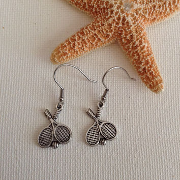 Tennis earrings, nickel free, tennis lovers, gifts for tennis lovers, tennis pros, dangle earrings, tibetan silver tennis racquets.