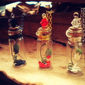 Rose Bud in a Bottle - Enchanted Rose - Rose in a Bottle Vial Necklace - Beauty and the Beast Necklace - White Rose - Black Rose - Red Rose