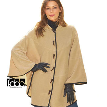 Women's Ladies Hooded Poncho Cape Coat Batwing Cloak Fleece Jacket Fall Winter