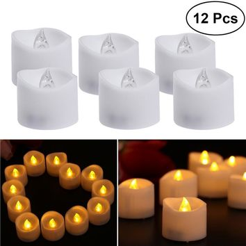 12pcs Realistic and Bright Flameless LED Tea Lights Battery Operated Plastic Candles