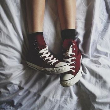 """Converse"" Trending Women Men High Help Canvas Flats Sneakers Sport Shoes Wine Red I"