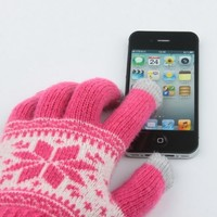 Pink with White Snowflake Winter Mobile Phone Touch Screen Gloves for iPhone 5 4S 3GS iTouch Christmas Gift