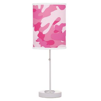 Pretty Pink Colors Camouflage Pattern Table Lamp
