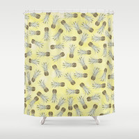 Pineapple Jam Minis Yellow Shower Curtain by Lisa Argyropoulos