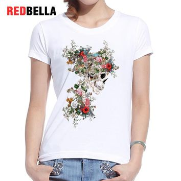 REDBELLA Women T-shirt Pop Skeleton Floral Magical Artistic Camiseta Mujer Casual Print Cotton Fashion Cool Tumblr Clothing Tees