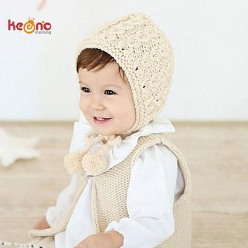 Handmade Crochet Knit Baby Girl Hat Winter Earflaps Baby Hat Solid Color Infant Bonnet Beanie Cap Gift SW157