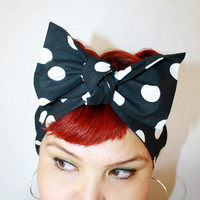 Bow hair tie Vintage Inspired Head Scarf Black with by OhHoneyHush