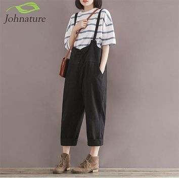 Johnature 2017 Summer New Loose Girl Rompers Solid Cotton Linen Vintage Casual Brief Pockets Rompers Womens Jumpsuit