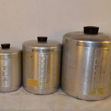 Aluminum Italian Canister Set of 3 Flour Coffee Tea Vintage Made in Italy Spun Brushed Aluminum Canisters with Lid Black Plastic Handles