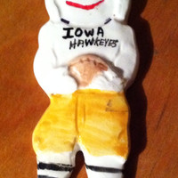 Vintage collectible Iowa Hawkeye Christmas Ornament.
